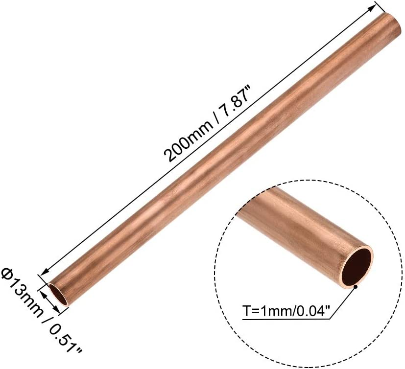 Used For Cooling Water Heating Tool Generator Copper Tube-cable Switch Equipment-DIY BTCS-X 1PCS Copper Round Tube 8mm-30mm Outer Diameter 100mm 300mm Long Hollow Straight Tube 200mm