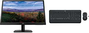 HP 21.5 -inch FHD Monitor with Tilt Adjustment and Anti-Glare Panel (22yh, Black) & Logitech MK545 Advanced Wireless Keyboard and Mouse Combo