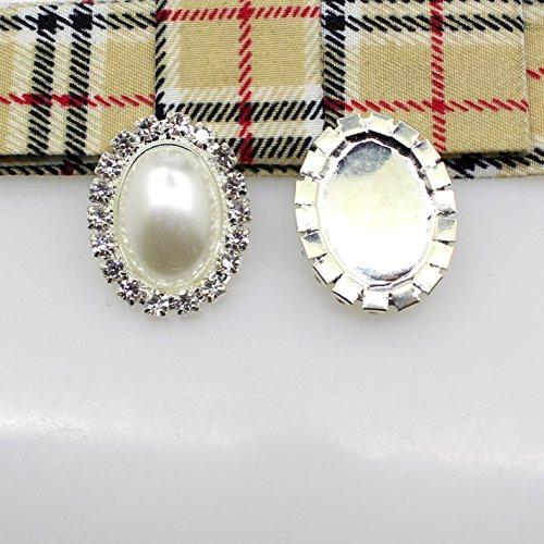 30pcs/Lot 20mm x 25mm Oval Ivory Pearl Rhinestone Button Flateback DIY Hair Accessories Wedding Ribbon Decoration