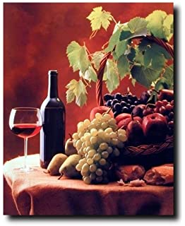 Wine Fruit Grapes And Apples Still Life Kitchen Decor Art Print Poster