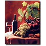 Red Wine & Fruit Grapes and Apples Still Life Kitchen Decor Art Print Poster (16x20)