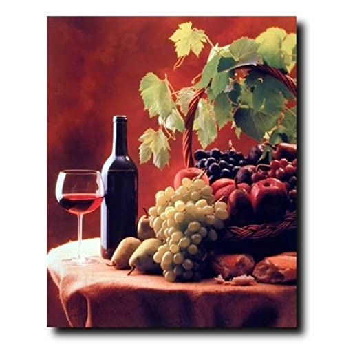 Red Wine U0026 Fruit Grapes And Apples Still Life Kitchen Decor Art Print Poster  (16x20)