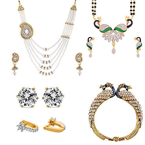 Zeneme Precious Combo of Pearl Necklace, Earrings, Elegant Peacock Design Mangalsutra and Kada Jewellery for Women