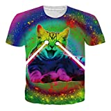 RAISEVERN Unisex Realistic T Shirts with Laser Cats 3D Animation Digital Printing