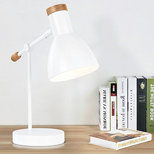 amp Wooden Living Room Reading Desk Lamp Multi-Angle Swing Arm Metal Table Lamp (Color : White) ()