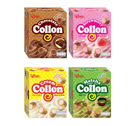 4 Flavours Glico Collon Biscuit Roll Fill With Chocolate