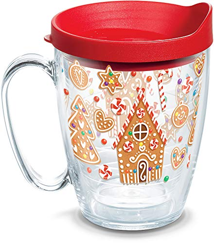 (Tervis 1273242 Gingerbread Houses Insulated Tumbler with Wrap and Red Lid, 16oz Mug, Clear)
