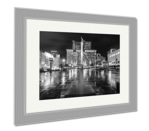 Ashley Framed Prints Union Square San Francisco California, Contemporary Decoration, Black/White, 26x30 (frame size), Silver Frame, - Francisco Union San Square Shops
