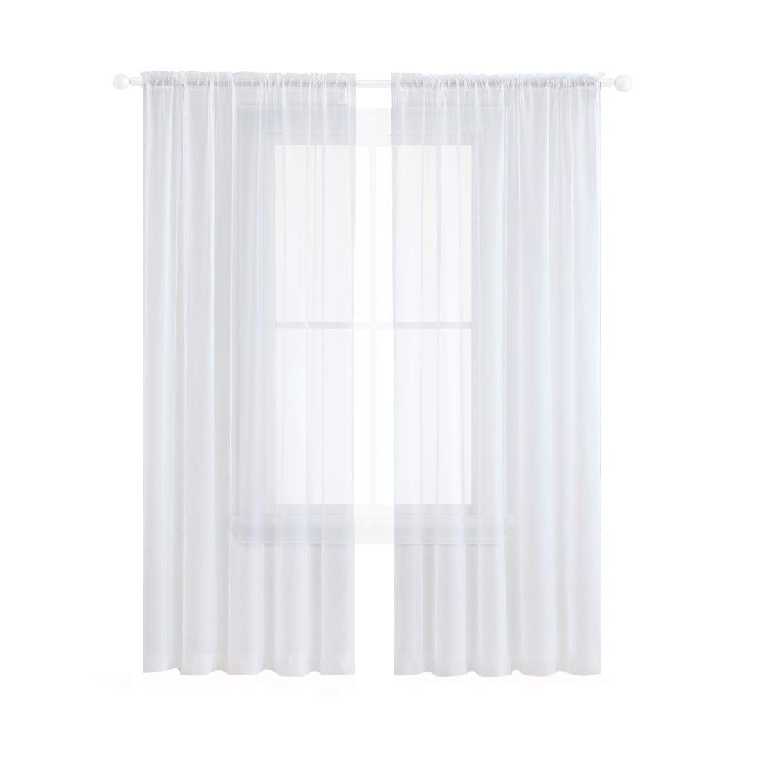 Anjee Sheer White Curtains, 96 inches Long Voile Curtain, 2 Panels Semi Sheer Curtain for Living Room, Dining Room, Bedroom, 54 x 96 Inches