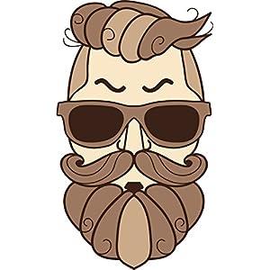 "Simple Hipster Man with Sunglasses and Beard Cartoon Head Vinyl Decal Sticker (8"" Tall, #1)"