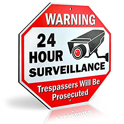 "Large Aluminum Warning 24 Hour Surveillance Metal Sign, Trespassers will be prosecuted, Security CCTV Camera Sign | 12"" L x 12"" H, Octagon"