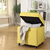 Inspired Home Harrison Linen Modern Contemporary Hidden Storage Castered Legs Ottoman Cube, Yellow For Sale