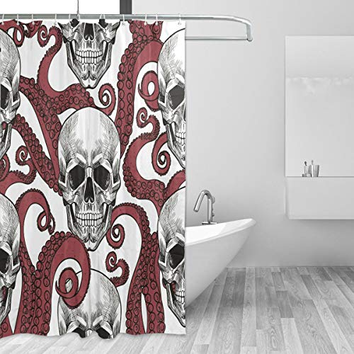 ZOEO Octopus Shower Curatin Kids Chic Red Sugar
