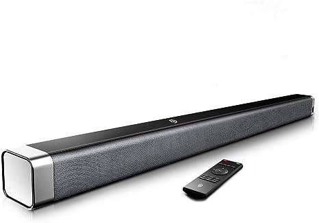 Barra de Sonido 2.0 Canales, Potencia 120dB, BOMAKER Tecnología DSP Subwoofer Incorporado + Bluetooth 5.0 para TV, Soporta Óptico, 3,5 mm Audio AUX, USB, para Cine en Casa, ODINE I, Negro-Gris: Amazon.es: Electrónica