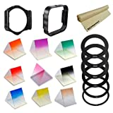 Complete Square Accessory Kit for Cokin P Series. Includes: Adapter Ring Set (52mm, 58mm, 62mm, 67mm, 72mm, 77mm) + Filter Holder + Square Lens Hood + Graduated Color Square Filters (Red, Blue, Orange, Yellow, Grey (ND), Pink, Brown, Purple and Green) + JB Microfiber Cleaning Cloth