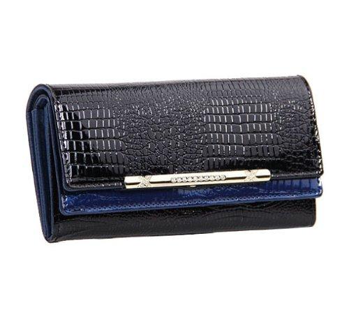 Eonice Luxury Womens Wallet Double Layer Women Wallet Croco Embossed Genuine Leather Wallet Women Purse (Black & Blue)