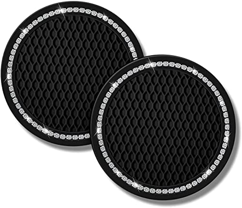 Vehicle Bling Car Cup Coaster, 2PCS Car Cup Holder Coasters, 2.75in Bling Car Cup Coasters, Glitter Cup Mats Universal Vehicle Cup Holder Insert Coaster for Most Car with Heat Insulation Function