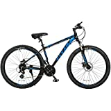 Titan Omega Alloy-Frame Mountain Bike with Front-Suspension, 17-Inch Frame, 24-Speed, Glossy Black with Blue Decals