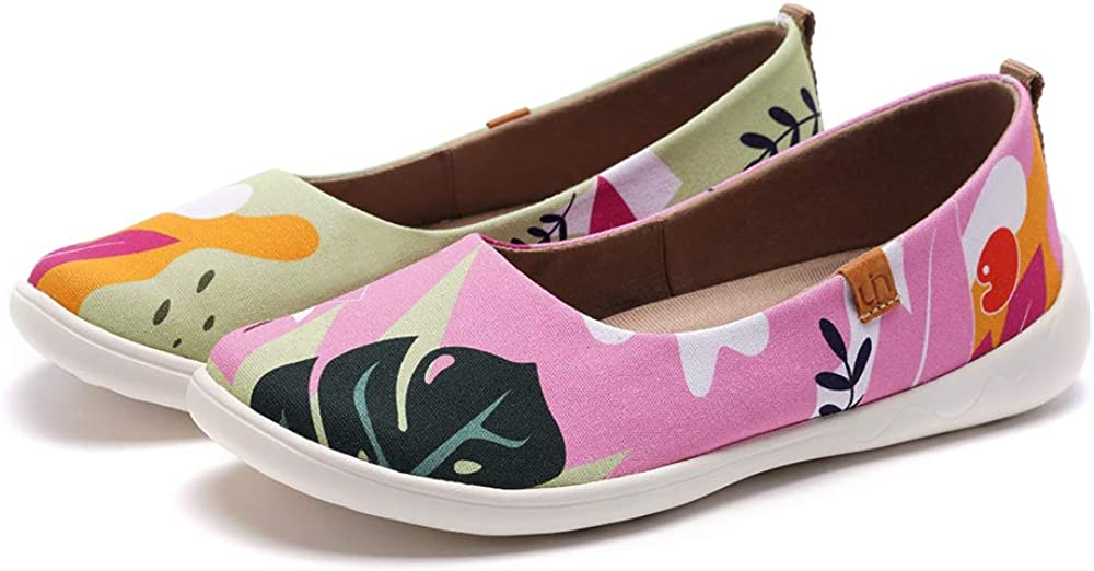UIN Summer Jungle Damen Sommerdschungel Ballerinas Painted Slip On Schuhe L/ässiger Reiseschuhe Segelschuhe Canvas Pink