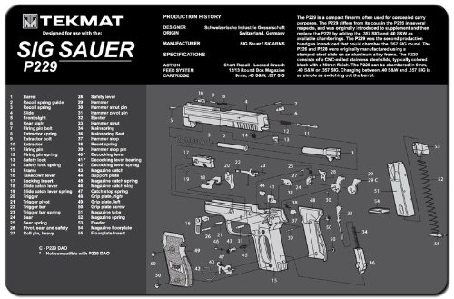 TekMat Sig Sauer P229 Cleaning Mat / 11 x 17 Thick, Durable, Waterproof/Handgun Cleaning Mat with Parts Diagram and Instructions/Armorers Bench Mat/Black and Grey by TekMat