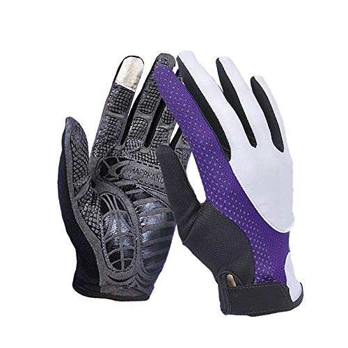 Comfortable UPF50+ Men and Women Thin Section Breathable Non-Slip Finger Sun Protection Gloves Outdoor Sports Climbing Durable (Color : Purple, Size : M-Five Pairs)