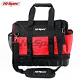 Hi-Spec Heavy Duty Wide Mouth Tool Bag with Waterproof Ultra-Rigid Molded Base,24 Interior/Exterior Pockets, Shoulder Strap, Rubber Handles,600D Reinforced Material for Home DIY & Professional Use