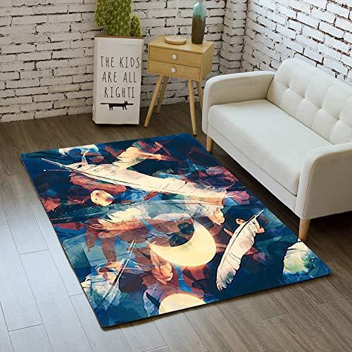 (iBathRugs Door Mat Indoor Area Rugs Living Room Carpets Home Decor Rug Bedroom Floor Mats,Moon Bird Feathers Flowers Jewels)