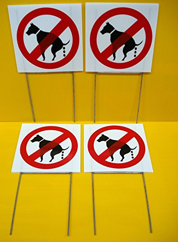 Pc Wood Guardian - 4 Pcs Eloquent Unique No Dog Poop Warning Signs Protection Grass Caution Fence Property Burglar Protect Poster Under Cameras Protected Guardian Video Surveillance Decals Outdoor Size 8
