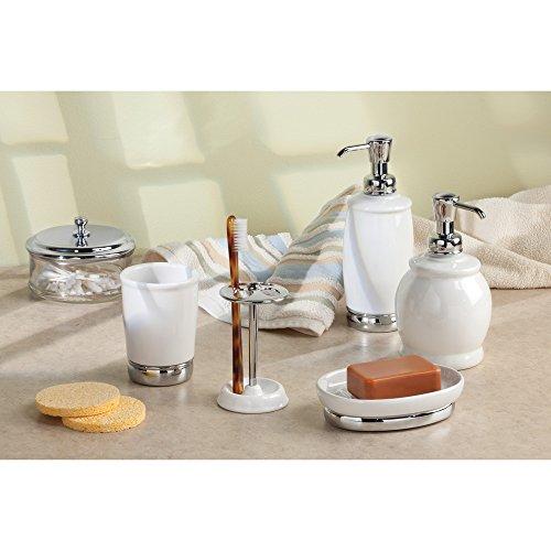 Interdesign york ceramic bathroom vanity soap dish ridged for Interdesign york