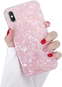 Dailylux iPhone XR Case,Cute Phone Case for Girls Women Glitter Pretty Design Protective Slim Shockproof Pearly-Lustre Shell Bumper Soft Silicone TPU Cover for iPhone XR 6.1 inch 2018,Pink