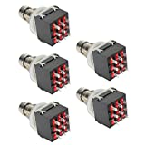 E Support™ Black 3PDT 9 Pins Box Stomp Guitar Effect Pedal Foot Switch True Bypass Metal Pack of 5