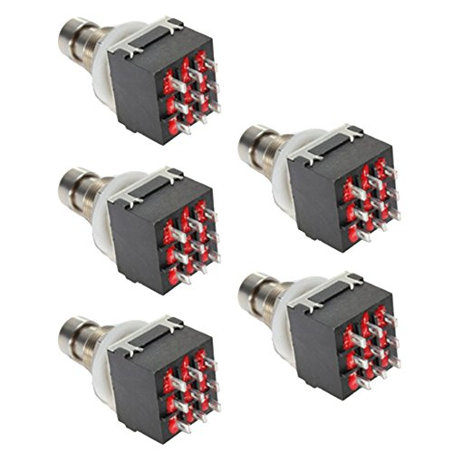 ESUPPORT Black 3PDT 9 Pins Box Stomp Guitar Effect Pedal Foot Switch True Bypass Metal Pack of 5