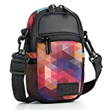 Compact Camera Case (Geometric) Point & Shoot Camera Bag w/Accessory Pockets, Rain Cover & Shoulder Strap by USA Gear - Compatible with W/COOLPIX, CyberShot, PowerShot ELPH & More Compact Cameras