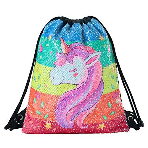 Mermaid Drawstring Bag Magic Reversible Sequin Backpack Glittering Dance School Bag for Yoga Outdoors Sports, for Girls Women Kids (Colorful Unicorn)