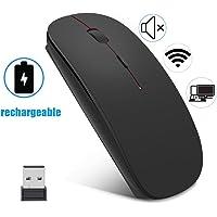 EasyULT Souris sans Fil,Silence Click Wireless Mouse Optique,USB Nano-Récepteur,Ultra Mince 1600 DPI,avec USB câble,pour PC/Tablet/Laptop(Noir)