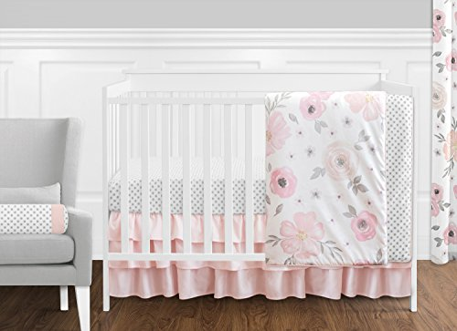 Sweet Jojo Designs 11-Piece Blush Pink, Grey and White Watercolor Floral Baby Girl Crib Bedding Set Without Bumper Rose Flower Polka Dot -