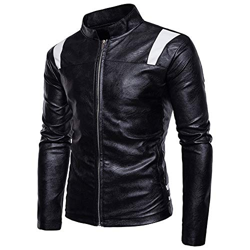 Jacket Men's Leather Fashion Stand Stitching Zipper UJUNAOR Black Coat Imitation Collar Symmetrical 1Eqn5