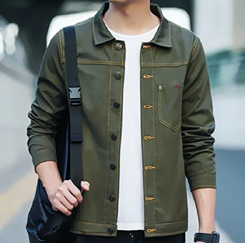 Howme-Men Button Down Pocket Turn Down Collar Denim Jean Bomber Jacket Army Green