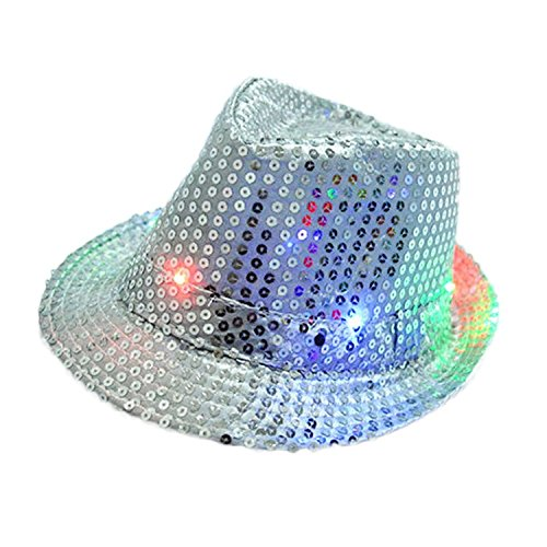 [LED Jazz Hat,TILO Women Men Unisex Adult Glitter Sequins Jazz Hat Led Light Up Fedora Cowboy Hats Costume Party Cap for Dancing Party with 9 Flashing LED Lamps 58cm/23