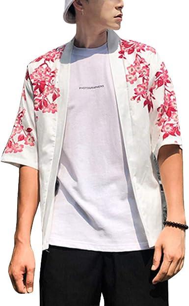 Hombres Vintage Kimono Harajuku Cabo Abrigo Japonés Cardigan Camisa Haori 3/4 Manga: Amazon.es: Ropa y accesorios