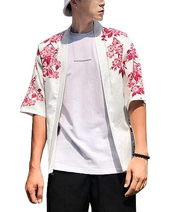 d6e949de6 Hombres Vintage Kimono Harajuku Cabo Abrigo Japonés Cardigan Camisa ...
