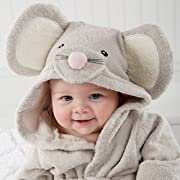 Aautoo Extra Soft Baby Hooded Towels Squeaky Clean Mouse Spa Bathrobe,grey,0-12 Months