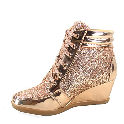 Pour Toujours Lien Peggy-44 Femmes Mode Glitter Haut Haut Lacets Up Wedge Sneaker Chaussures Rose Or
