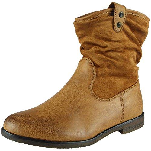 Slouch 3 Low Taglia Plain Heel Tan Flat 8 Donna Da Womens Casual Rouched Pixie Uvtq0wP0