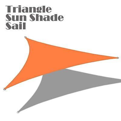 Alion Home 16'5'' x 16'5''x 16'5'' Triangle Waterproof Woven Sun Shade Sail in Vibrant Colors (Tangerine Orange) : Garden & Outdoor