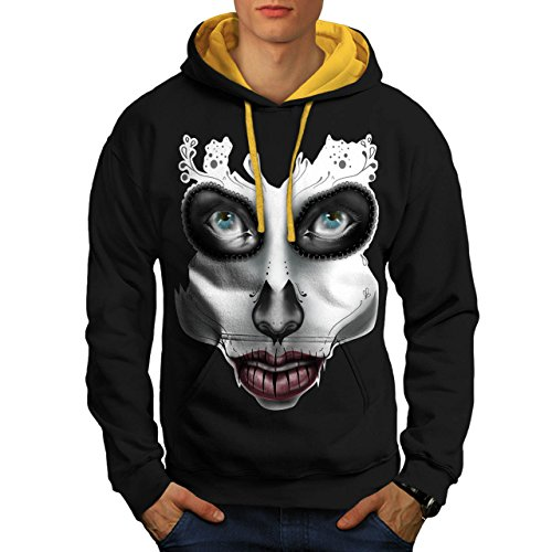 [Sugar Skull Make Up Beauty Face Men S Contrast Hoodie | Wellcoda] (Sugar Skull Costume Tumblr)