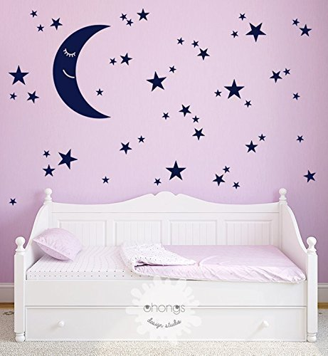 Moon And Stars Wall Decal / Star Wall Sticker / Kids Room Decal / Nursery  Decal
