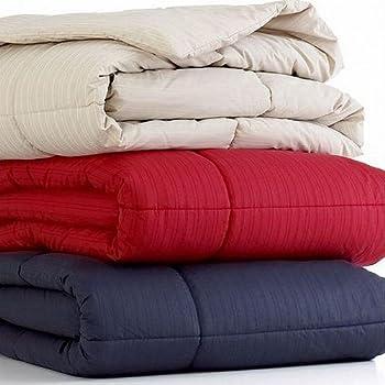 Home Design Colored Mini Stripe 230T Down Alternative King Comforter Indigo
