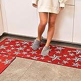LIUXINDA-DT Modern household carpet, kitchen carpet, antiskid carpet, oil proof carpet, Restaurant Carpet, absorbent carpet,50 x (x 80cm 19.6 31.4 ''),红色
