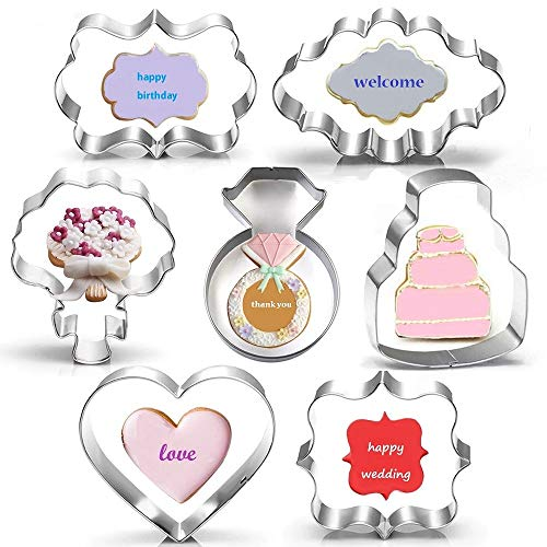 Wedding Cookie Cutter Set-7 Piece-3 Inches-Heart, Diamond Ring, Wedding Cake, Flower, Rectangle, Square and Oval Plaque Cookie Cutters Molds for Bridal Shower Engagement]()